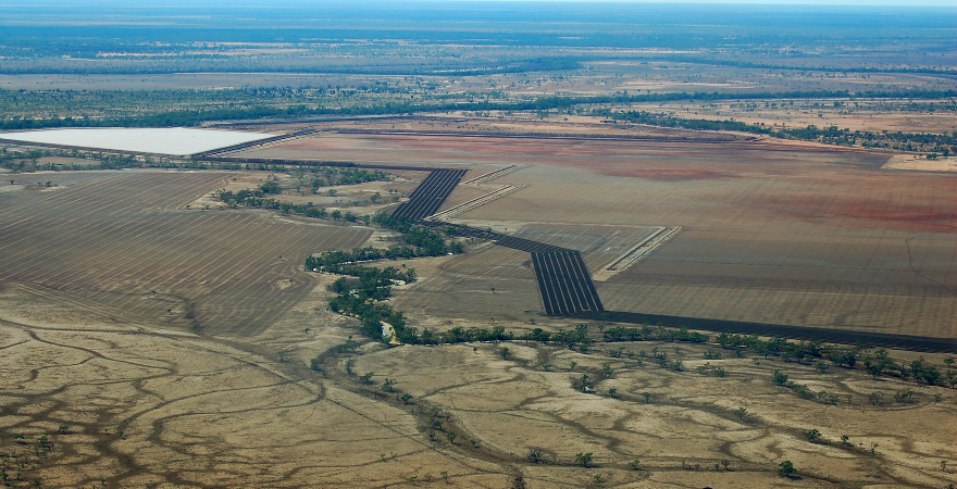 An aerial photo of farmland near the Warrego River, northern New South Wales.