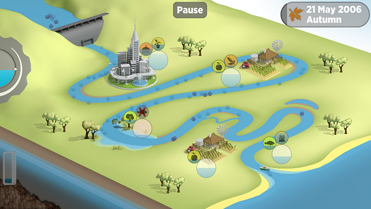 Run the River features a clear and simple visual style to make the complex water requirements of the river system easy to understand.