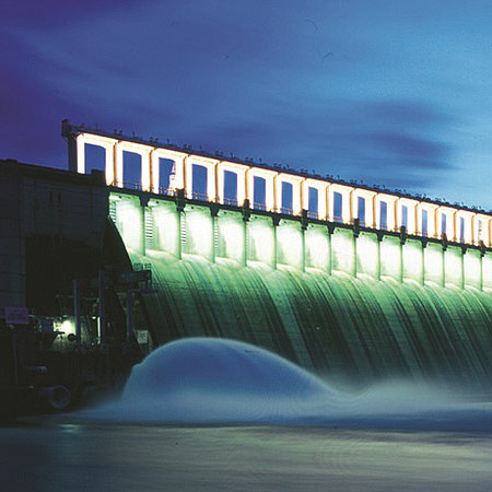 Hume Dam, shown here at sunset, is an example of river infrastructure created to manage the unpredictable nature of Australia's climate.