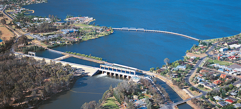 Aerial view of Lake Mulwala with Yarrawonga Weir in foreground