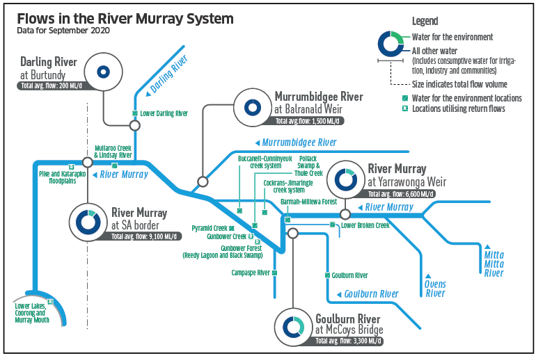 Components of river flow in the River Murray