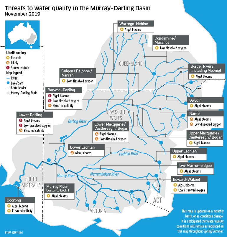 Map showing water areas of the Murray-Darling Basin under threat from water quality issues