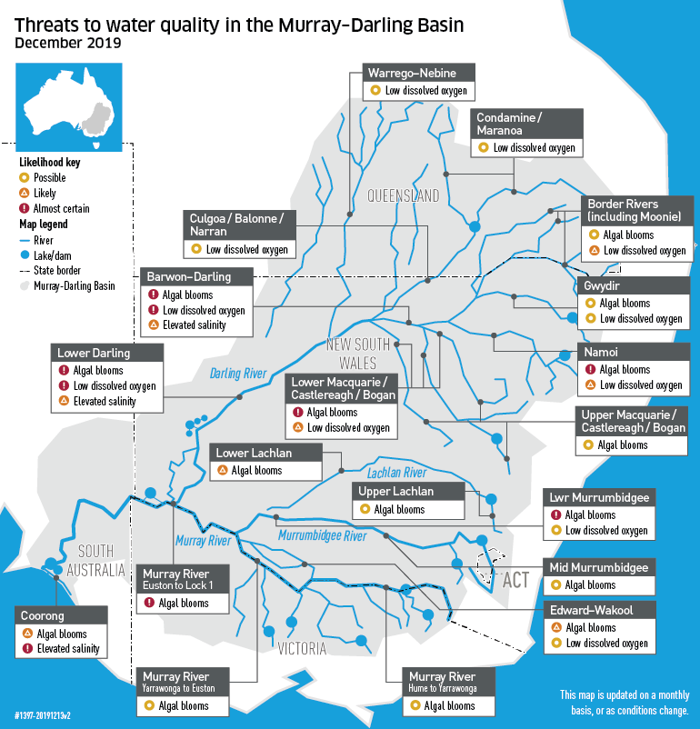Map of threats to water quality in the Murray-Darling Basin