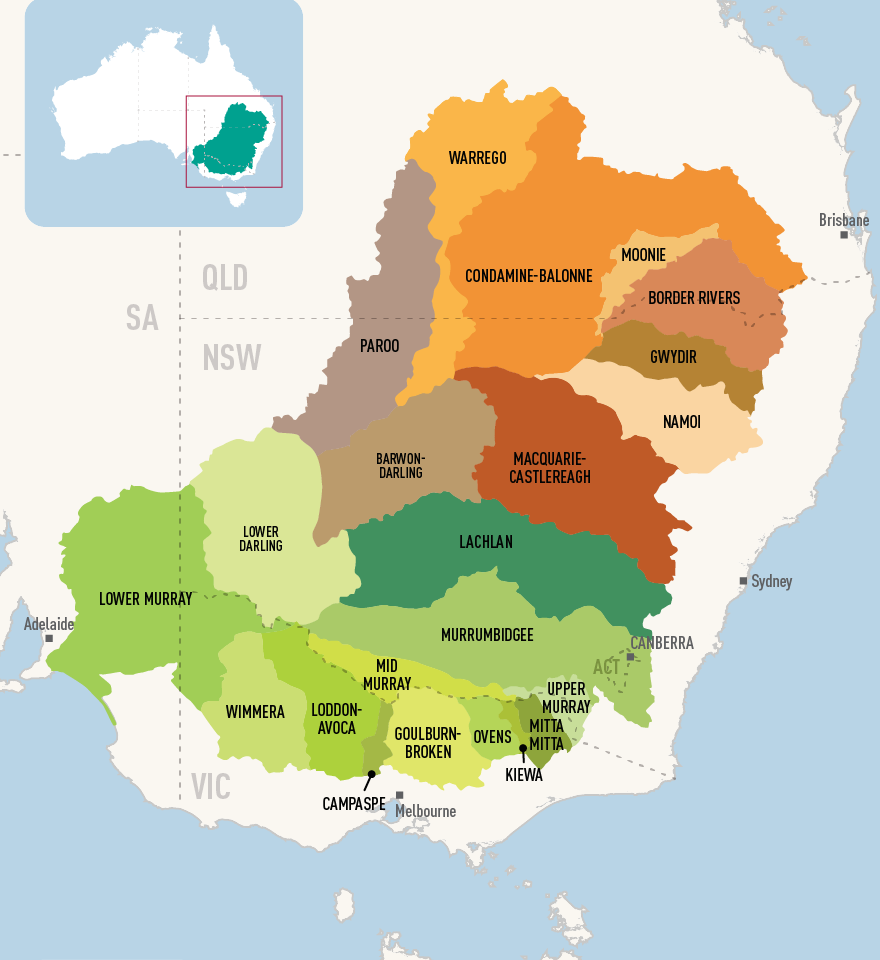 A map that shows and names all the catchments in the Basin. It shows that each catchment is a different size and shape.