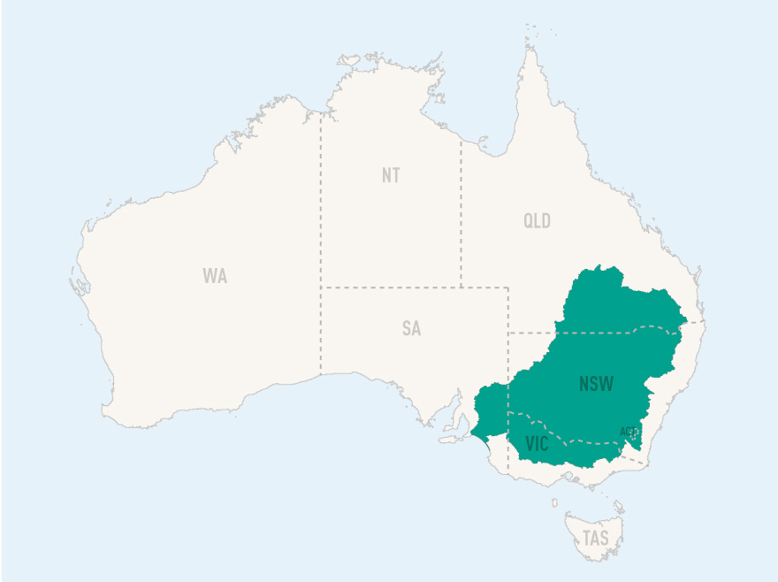A map that shows the Murray–Darling Basin within the bounds of Australia.