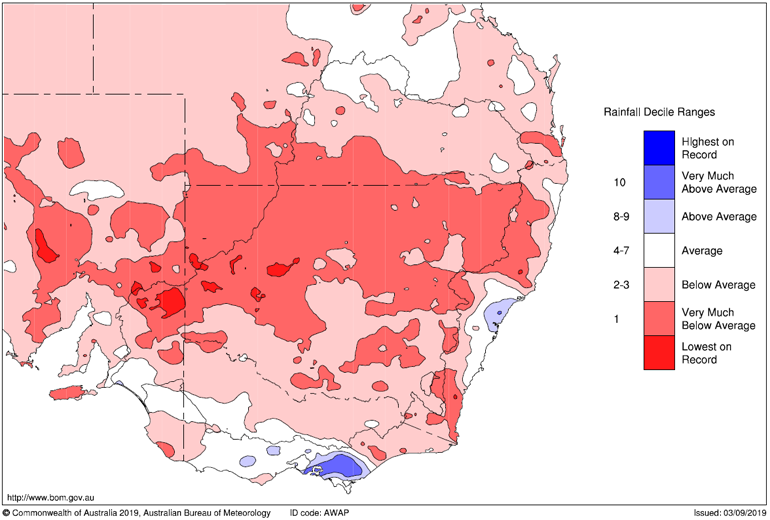 BoM Rainfall anomaly August 2019