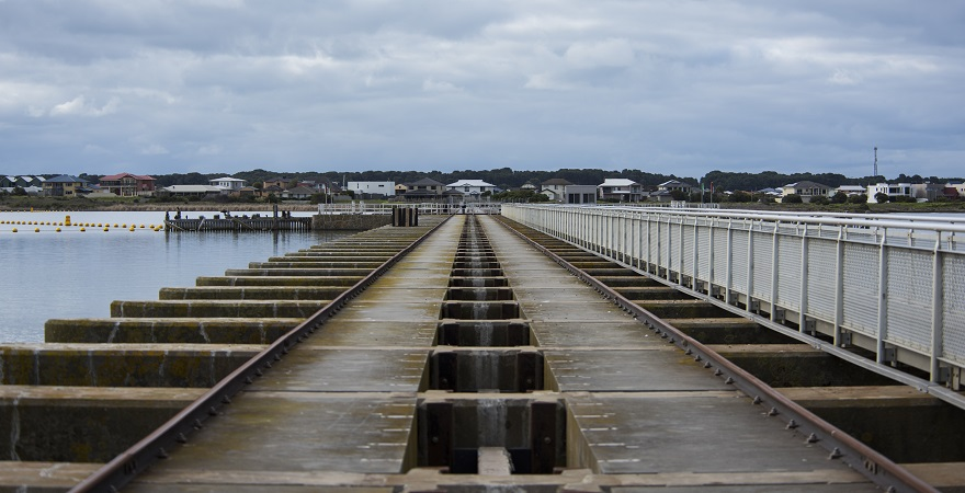 A photo of the Goolwa Barrage in South Australia.