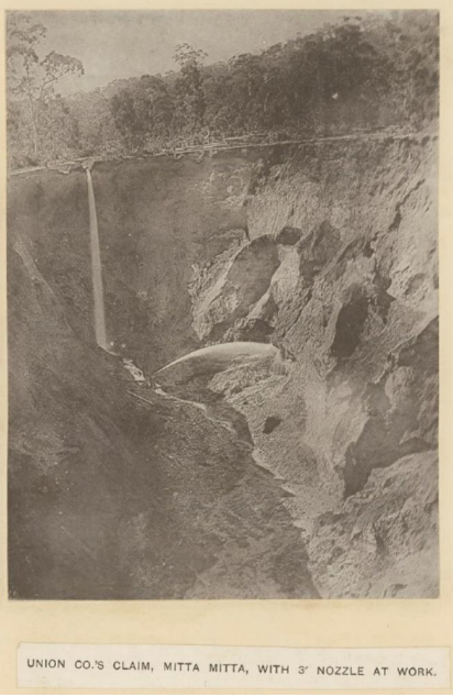 Hydraulic sluicing on the Mitta Mitta (courtesy of the State Library of Victoria)