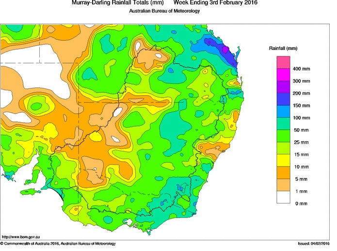 Rainfall map for the week with colour coded references.