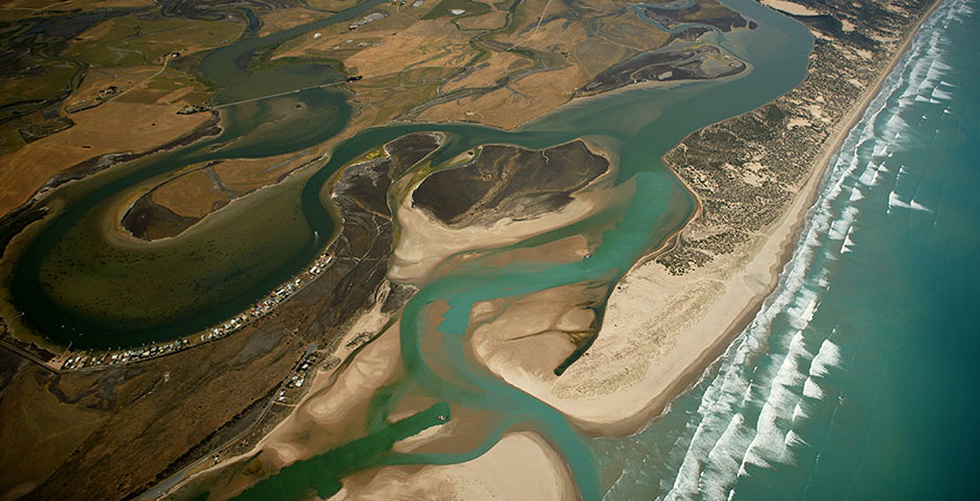 An aerial view of the Murray Mouth and the Coorong.