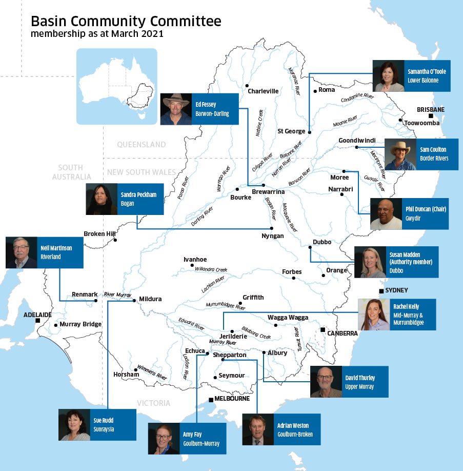 Basin Community Committee location map as at March 2021
