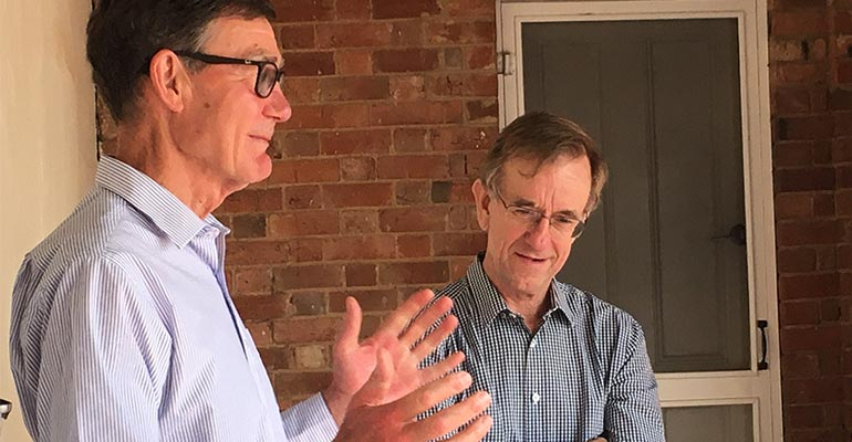 MDBA Chair Sir Angus Houston and MDBA CEO Phillip Glyde learn about rice at SunRice
