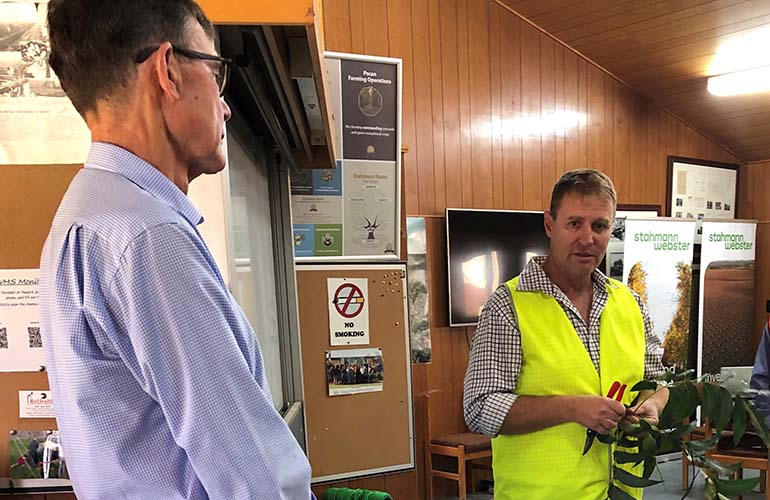 Ross Burling from Stahmann Webster tells MDBA Chair, Sir Angus Houston, about pecan production