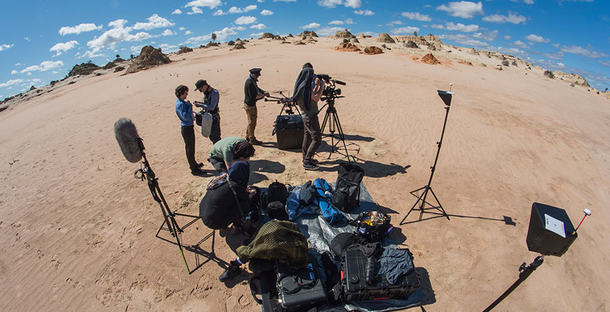 Film crew at Lake Mungo NSW