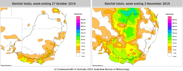BoM rainfall totals for the last two weeks