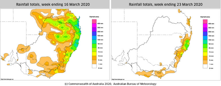Rainfall totals for weeks ending 16 and 23 March