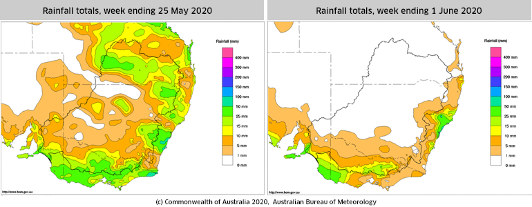 Rainfall totals for weeks ending 25 May and 1 June 2020