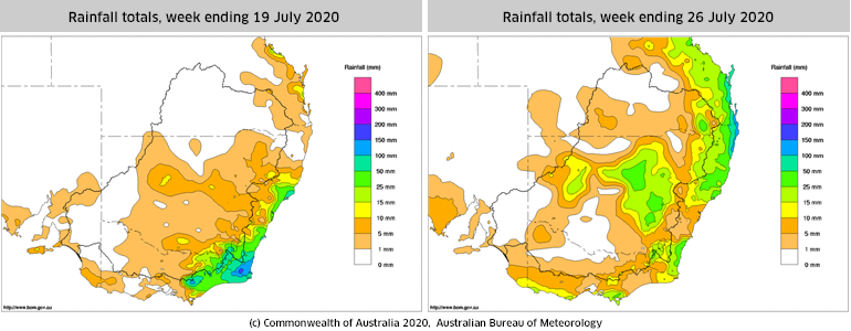 Rainfall totals for weeks ending 19 and 26 July 2020