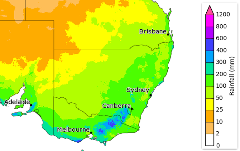 Rainfall totals with 75% chance of occurring from June to August 2020