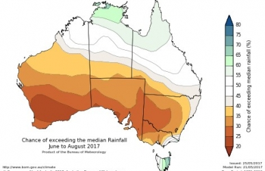 Map of Australia with colour coding of rainfall.