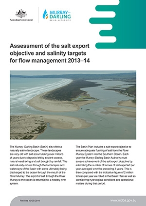 Assessment of salt export objective and salinity targets for flow management 2013-14