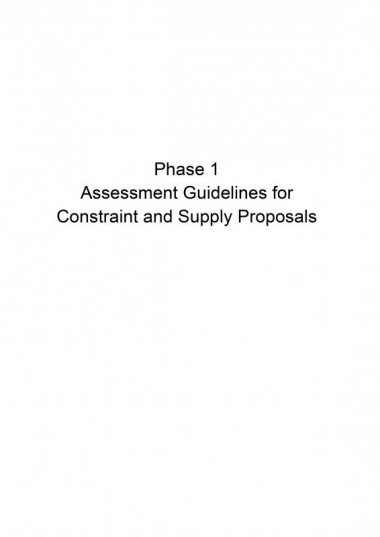 Phase 1 Assessment Guidelines for Constraint and Supply Proposals