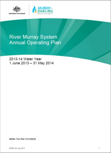 River Murray System Annual Operating Plan for 2013-14