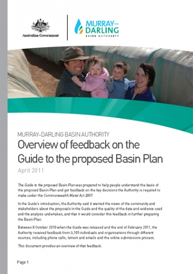 Overview of feedback on the Guide to the proposed Basin Plan