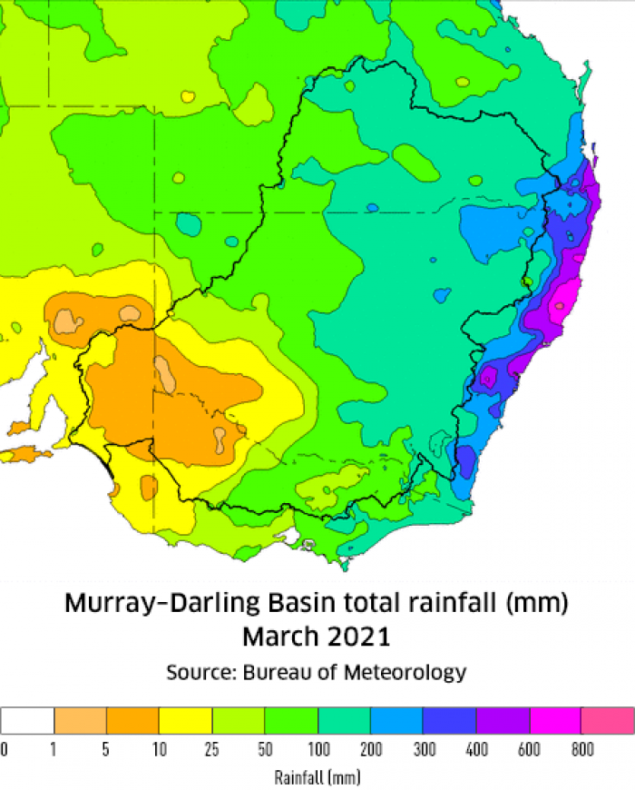 Rainfall totals for March 2021