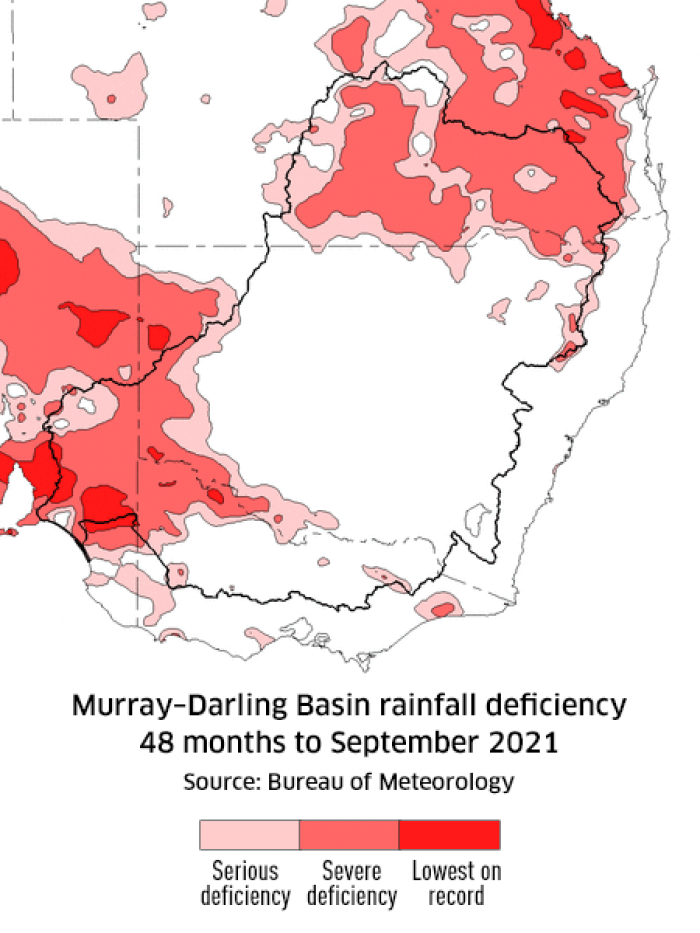 Rainfall deficiency for the Murray-Darling Basin, 48 months to August 2021