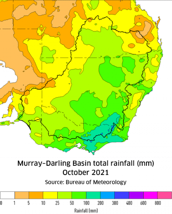 Rainfall totals for the Murray-Darling Basin - September 2021