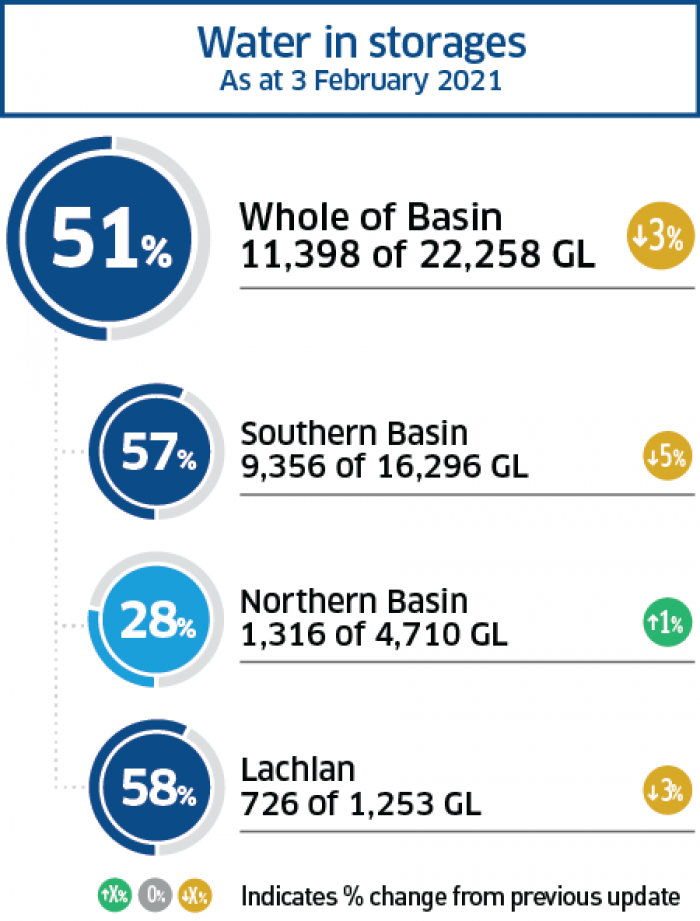 Water storage levels across the Basin for January 2021