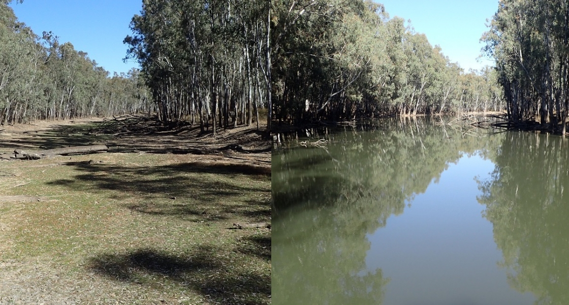 Smith's Creek dry (10 August 2018) compared to wet (24 August 2018). (Photo: Keith ward)